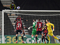 12th January 2021; Vitality Stadium, Bournemouth, Dorset, England; English Football League Championship Football, Bournemouth Athletic versus Millwall; Jefferson Lerma of Bournemouth heads the ball off the line and away from danger