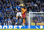 St Johnstone v Galatasaray…12.08.21  McDiarmid Park Europa League Qualifier<br />Liam Gordon wins this header with Mbaye Diagne<br />Picture by Graeme Hart.<br />Copyright Perthshire Picture Agency<br />Tel: 01738 623350  Mobile: 07990 594431