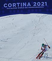 20th February 2021; Cortina d'Ampezzo, Italy; FIS Alpine World Ski Championships, Women's Slalom ; Asa Ando (JPN) crosses the finish line