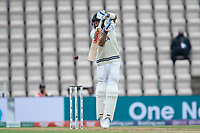 Virat Kohli, India defends a short delivery from Kyle Jamieson, New Zealand during India vs New Zealand, ICC World Test Championship Final Cricket at The Hampshire Bowl on 19th June 2021