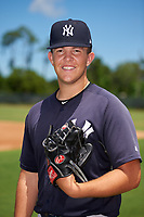 GCL Yankees East relief pitcher Montana Semmel (16) poses for a photo before a Gulf Coast League game against the GCL Phillies West on August 3, 2019 at the Carpenter Complex in Clearwater, Florida.  The GCL Yankees East defeated the GCL Phillies West 4-0, the second game of a doubleheader.  (Mike Janes/Four Seam Images)
