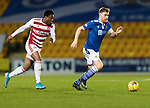 St Johnstone v Hamilton Accies…30.12.20   McDiarmid Park     SPFL<br />Liam Craig and Lateef Owolabi<br />Picture by Graeme Hart.<br />Copyright Perthshire Picture Agency<br />Tel: 01738 623350  Mobile: 07990 594431