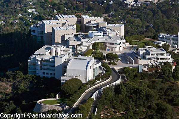 aerial photograph of the J. Paul Getty Museum Getty Center, Brentwood, Los Angeles, California