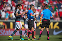 Orlando, Florida - Saturday, June 04, 2016: Paraguayan goalkeeper Gustavo Gomez (3) takes a moment to speak the Patricio Loustau (referee) at half-time during a Group A Copa America Centenario match between Costa Rica and Paraguay at Camping World Stadium.