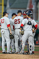 June 10th 2008:  Andrew Pinckney (30), Iggy Suarez (17), Kris Johnson (25), Aaron Bates (33), Arnie Beyeler (22), and Mark Wagner (5) of the Portland Seadogs, Class-AA affiliate of the Boston Red Sox, have a conference during a game at Jerry Uht Park in Erie, PA.  Photo by:  Mike Janes/Four Seam Images