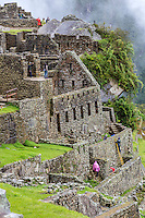 Peru, Machu Picchu.  Western Urban Sector.  Preservation Work Under Way, lower right.