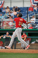 State College Spikes Dariel Gomez (34) bats during a NY-Penn League game against the Batavia Muckdogs on July 2, 2019 at Dwyer Stadium in Batavia, New York.  Batavia defeated State College 1-0.  (Mike Janes/Four Seam Images)