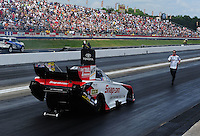 May 6, 2012; Commerce, GA, USA: NHRA crew member for funny car driver Cruz Pedregon during the Southern Nationals at Atlanta Dragway. Mandatory Credit: Mark J. Rebilas-