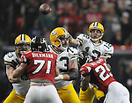 Green Bay Packers quarterback Aaron Rodgers throws incomplete to Donald Driver on a fourth down play against the Atlanta Falcons during the fourth quarter of the game at the Georgia Dome in Atlanta, Ga., on Nov. 28, 2010.