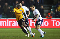 Kieran Trippier of Tottenham Hotspur is challenged by Frank Nouble of Newport County during the Fly Emirates FA Cup Fourth Round match between Newport County and Tottenham Hotspur at Rodney Parade, Newport, Wales, UK. Saturday 27 January 2018