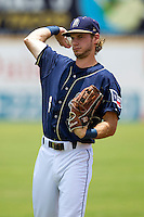 San Antonio Missions outfielder Travis Jankowski (6) warms up before the Texas League baseball game against the Midland RockHounds on June 28, 2015 at Nelson Wolff Stadium in San Antonio, Texas. The Missions defeated the RockHounds 7-2. (Andrew Woolley/Four Seam Images)