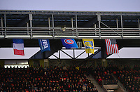 Lorient, France. - Sunday, February 8, 2015:  Flags hang from the top of the stadium. France defeated the USWNT 2-0 during an international friendly at the Stade du Moustoir.