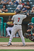 Ramon Laureano (7) of the Nashville Sounds bats against the Salt Lake Bees at Smith's Ballpark on July 28, 2018 in Salt Lake City, Utah. The Bees defeated the Sounds 11-6. (Stephen Smith/Four Seam Images)