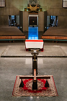 Croos displayed for a Good Friday, veneration of the cross service, Daylesford Abbey, Paoli, Pennsylvania, USA.