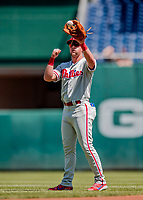 23 August 2018: Philadelphia Phillies outfielder Rhys Hoskins warms up prior to a game against the Washington Nationals at Nationals Park in Washington, DC. The Phillies shut out the Nationals 2-0 to take the 3rd game of their 3-game mid-week divisional series. Mandatory Credit: Ed Wolfstein Photo *** RAW (NEF) Image File Available ***
