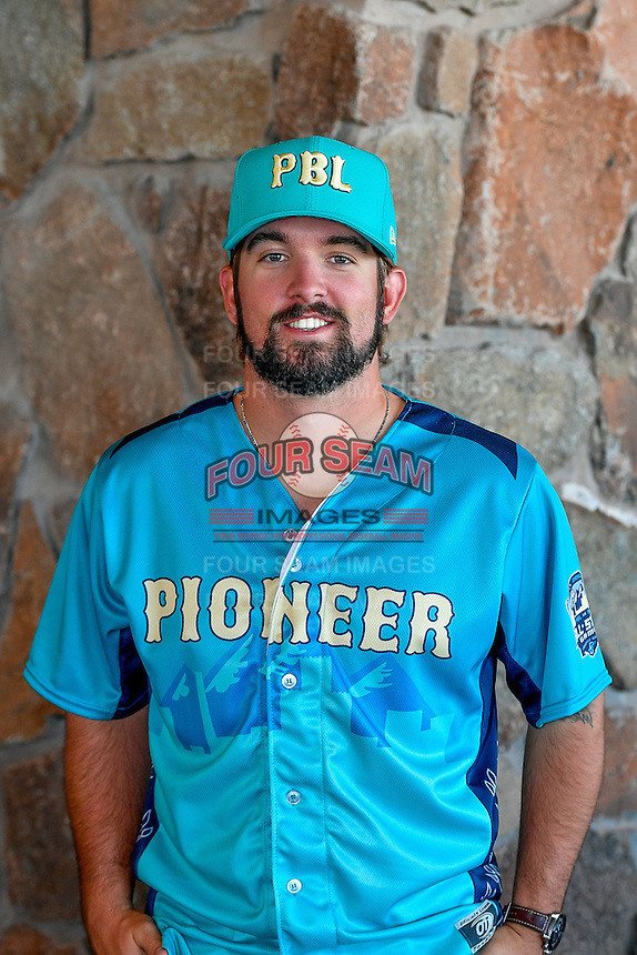 Jordan Desguin (22) of the Helena Brewers and the Pioneer League All-Stars poses for a photo during activities before the 2nd Annual Northwest League-Pioneer League All-Star Game at Snowbasin Resort on August 1, 2016 in Ogden, Utah. (Stephen Smith/Four Seam Images)