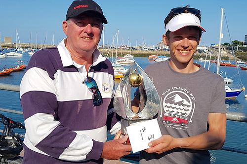 Barry McCartin winner of the Irish Fireball Nationals with DMYC Commodore Dermot Reidy