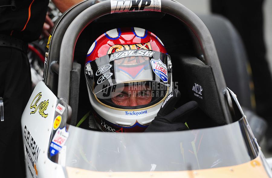 Jul. 31, 2011; Sonoma, CA, USA; NHRA top fuel dragster driver Clay Millican during the Fram Autolite Nationals at Infineon Raceway. Mandatory Credit: Mark J. Rebilas-