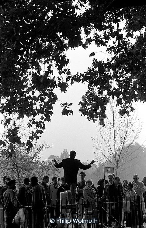 A Christian preacher addresses a crowd at Speakers Corner, Hyde Park, London