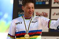 29th August 2021; Commezzadura, Trentino, Italy; 2021 Mountain Bike Cycling World Championships, Val di Sole; Downhill; Downhill final men, Greg Minnaar (RSA) winner of the gold