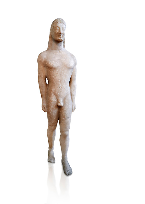 Naxian marble Ancient Greek Archaic statue of a kouros, found on Thera, circa 590-570 BC BC, Athens National Archaeological Museum. Cat no 8. Against white.<br /> <br /> <br /> This statue is typical of a Thera island workshop