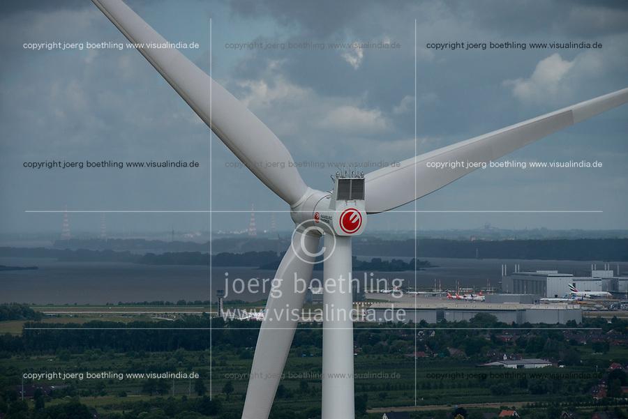 GERMANY Hamburg, wind turbine Siemens SWT-3.0-113 of Municipal energy supplier Hamburg Energie at Trimet area, behind airbus and river Elbe / DEUTSCHLAND, Hamburg, Trimet Gelaende, Siemens Windkraftanlage SWT-3.0-113 des kommunalen Stromerzeuger Hamburg Energie, Hintergrund Airbus Gelaende und Elbe