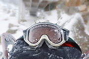Iced over goggles in extreme weather conditions on Greenleaf Trail in the White Mountains, New Hampshire during the winter months.