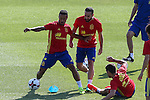 Spanish Dani Carvajal and Thiago Alcantara during the second training of the concentration of Spanish football team at Ciudad del Futbol de Las Rozas before the qualifying for the Russia world cup in 2017 August 30, 2016. (ALTERPHOTOS/Rodrigo Jimenez)