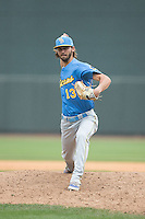 Myrtle Beach Pelicans relief pitcher Tayler Scott (13) in action against the Winston-Salem Dash at BB&T Ballpark on May 10, 2015 in Winston-Salem, North Carolina.  The Pelicans defeated the Dash 4-3.  (Brian Westerholt/Four Seam Images)