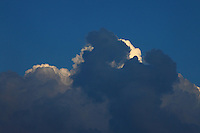 Some beautiful variously blue coloured clouds. The photo has been taken in Milano, in the evening.