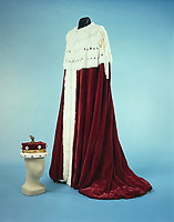BNPS.co.uk (01202) 558833. <br /> Pic: Duke's/BNPS<br /> <br /> Pictured: The coronation robes of General Hastings Lionel 'Pug' Ismat, 1st Baron Ismay, have an estimate of £5,000. <br /> <br /> The lavish contents of one of Britain's most beautiful stately homes are being auctioned off in a £1m everything must go sale.<br /> <br /> Wormington Grange has been owned since the 1970s by John Evetts, the grandson of Lord Ismay, Winston Churchill's chief military strategist during World War Two.<br /> <br /> Mr Evetts has sold the £15m neoclassical Cotswolds mansion as he is downsizing to a smaller property in the area.<br /> <br /> The sale, to be conducted by Duke's, of Dorchester, Dorset, features over 1,000 items ranging in value from £50 kitchen glasses to £100,000 works of art.
