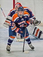 4 January 2014:  Syracuse University Orange defender Larissa Martyniuk, a Freshman from Winnipeg, Manitoba, in action against the University of Vermont Catamounts, in non-conference play at Gutterson Fieldhouse in Burlington, Vermont. The Orange defeated the UVM Lady Cats 4-3 in their first ever NCAA meeting. Mandatory Credit: Ed Wolfstein Photo *** RAW (NEF) Image File Available ***