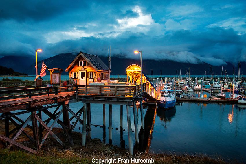 Main dock in Haines Alaska at night