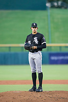 AZL White Sox starting pitcher Bryan Saucedo (45) prepares to deliver a pitch to the plate against the AZL Cubs on August 13, 2017 at Sloan Park in Mesa, Arizona. AZL White Sox defeated the AZL Cubs 7-4. (Zachary Lucy/Four Seam Images)