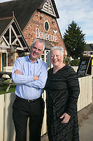 Michael Thomas, Licencee of The Dovecote Pub, Leicester with Manager Hilary Barlow.