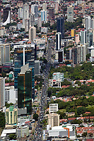 aerial photograph down Calle 50 in Panama City, Panama including the Global Bank Tower and the Creditcorp Bank, Panama City, Panama | fotografía aérea de Panamá