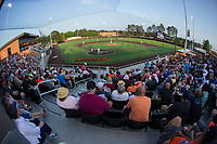 A crowd of 761 fans were in attendance for the Carolina League game between the Wilmington Blue Rocks and the Buies Creek Astros at Jim Perry Stadium on April 29, 2017 in Buies Creek, North Carolina.  The Astros defeated the Blue Rocks 3-0.  (Brian Westerholt/Four Seam Images)