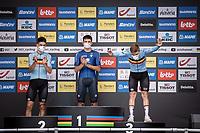 Remco Evenepoel (BEL/Deceuninck-Quick Step) on podium<br /> <br /> <br /> 88th UCI Road World Championships 2021 – ITT (WC)<br /> Men's Elite Time trial from Knokke-Heist to Brugge (43.3km)<br /> <br /> ©Kramon