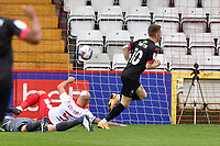 Ashley Hunter of Salford City F.C. scores the first Goal and celebrates during Stevenage vs Salford City, Sky Bet EFL League 2 Football at the Lamex Stadium on 3rd October 2020