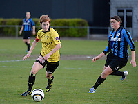 20140502 - VARSENARE , BELGIUM : Lierse's Lien Mermans (l) pictured with Brugge's Sofie Huyghebaert (r) during the soccer match between the women teams of Club Brugge Vrouwen  and WD Lierse SK  , on the 26th matchday of the BeNeleague competition on Friday 2 May 2014 in Varsenare .  PHOTO DAVID CATRY