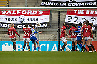 7th February 2021; Leigh Sports Village, Lancashire, England; Women's English Super League, Manchester United Women versus Reading Women; Natasha Harding of Reading beats Man Uniteds Press and heads in her goal to put Reading ahead 0-1