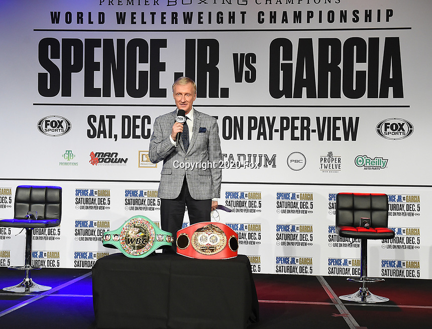 DALLAS, TX - DECEMBER 2: Announcer Jimmy Lennon Jr. at the press conference for the Errol Spence Jr. vs Danny Garcia December 5, 2020 Fox Sports PBC Pay-Per-View title fight at AT&T Stadium in Arlington, Texas. (Photo by Frank Micelotta/Fox Sports)