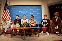 # Never Again Parkland Students from Marjory Stoneman Douglas High School speaking on changing gun policies,student activism and politics at the Institute of Politics at Harvard, Cambridge MA 3.20.18