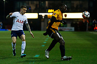 Frank Nouble of Newport County is marked by Kieran Trippier of Tottenham Hotspur during the Fly Emirates FA Cup Fourth Round match between Newport County and Tottenham Hotspur at Rodney Parade, Newport, Wales, UK. Saturday 27 January 2018