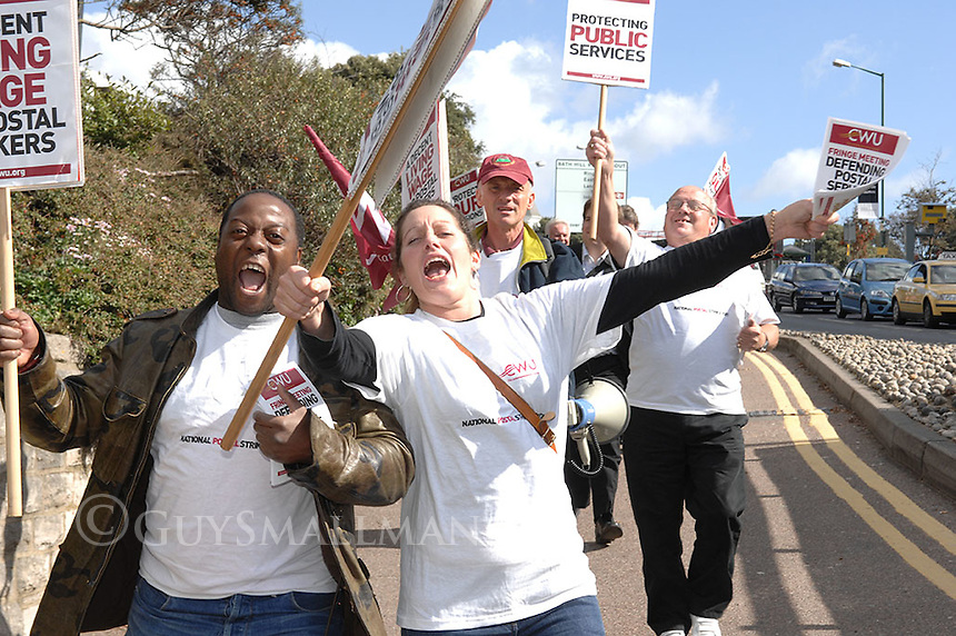 Members of the CWU lobby delegates to the Labour Party conference over their dispute with Royal Mail management.