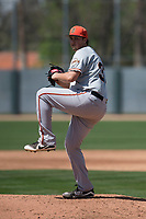 San Francisco Giants relief pitcher DJ Myers (37) during a Minor League Spring Training game against the Oakland Athletics at Lew Wolff Training Complex on March 26, 2018 in Mesa, Arizona. (Zachary Lucy/Four Seam Images)