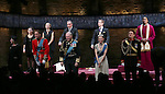 Margot Leicester, Tafline Steen, Oliver Chris, Sally Scott, Miles Richardson, Tim Pigott-Smith, Tom Robertson, Lydia Wilson, Richard Goulding and Nyasha Hatendi during the Broadway Opening Night performance curtain call bows for 'King Charles III' at the Music Box Theatre on November 1, 2015 in New York City.