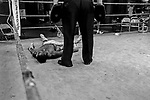 Rohnique Posey during a training session with trainer Bob Jackson. at Gleason's Gym in Brooklyn, New York.<br />Photograph by Thierry Gourjon-Bieltvedt 1995-2005
