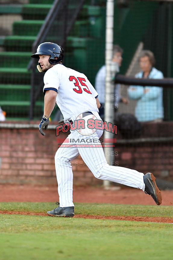 Elizabethton Twins first baseman J.J. Robinson (35) runs to first base during game one of the Appalachian League Championship Series against the Pulaski Yankees at Joe O'Brien Field on September 7, 2017 in Elizabethton, Tennessee. The Twins defeated the Yankees 12-1. (Tony Farlow/Four Seam Images)
