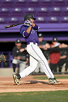 Left fielder Jabari Richards (6) of the Furman Paladins bats in game two of a doubleheader against the Harvard Crimson on Friday, March 16, 2018, at Latham Baseball Stadium on the Furman University campus in Greenville, South Carolina. Furman won, 7-6. (Tom Priddy/Four Seam Images)